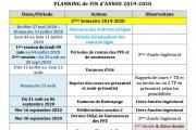 Planning  Fin Année 2019-2020